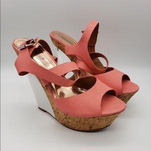 Shoedazzle Coral Pink & Metallic Wedges Peep Toe